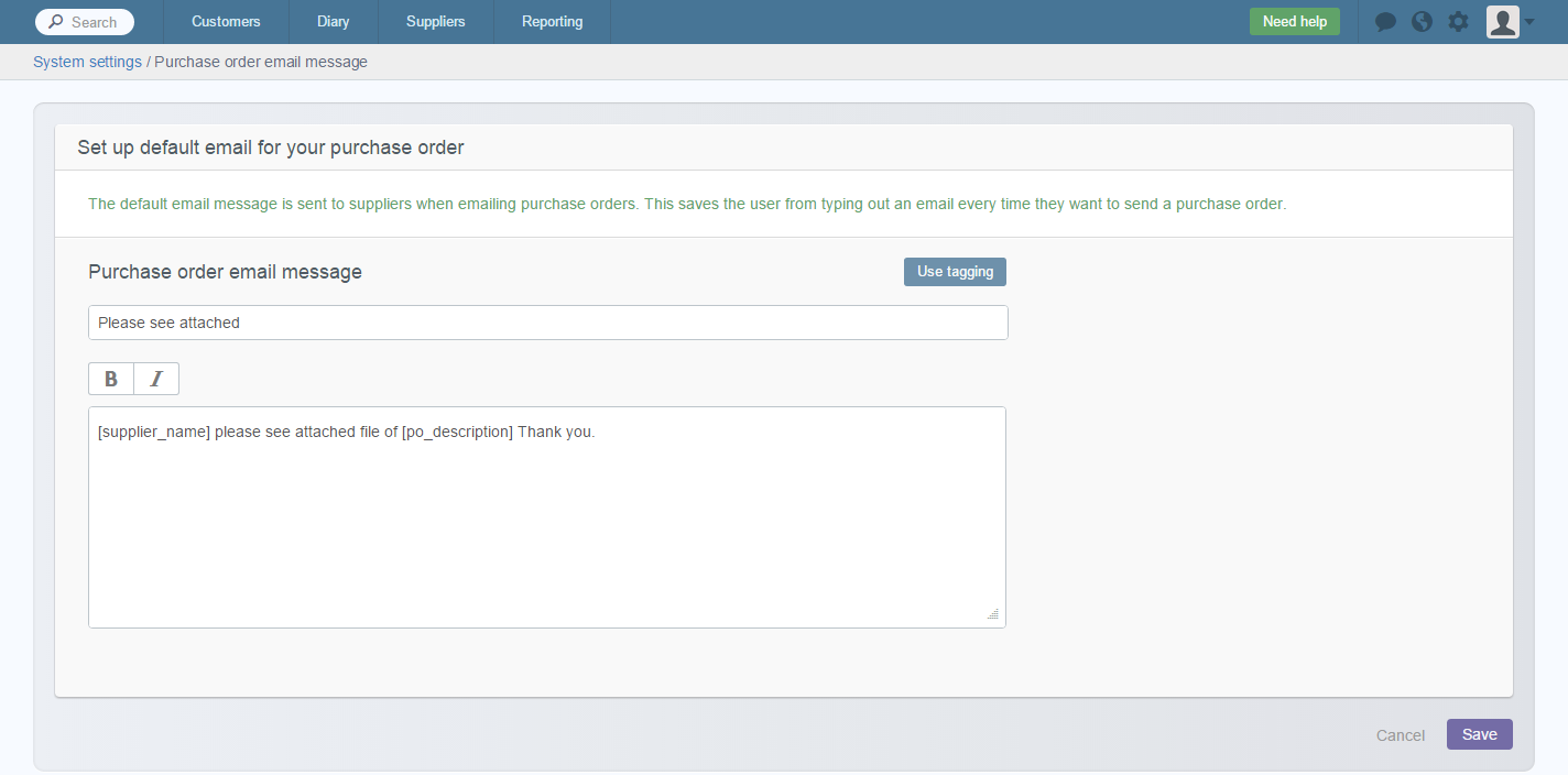 Edit purchase order email message – Commusoft v4