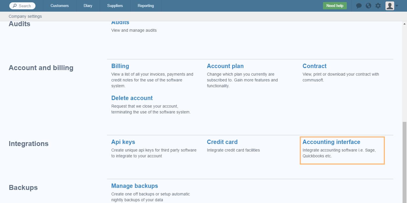 Quickbooks desktop: Setup accounting integration – Commusoft v4